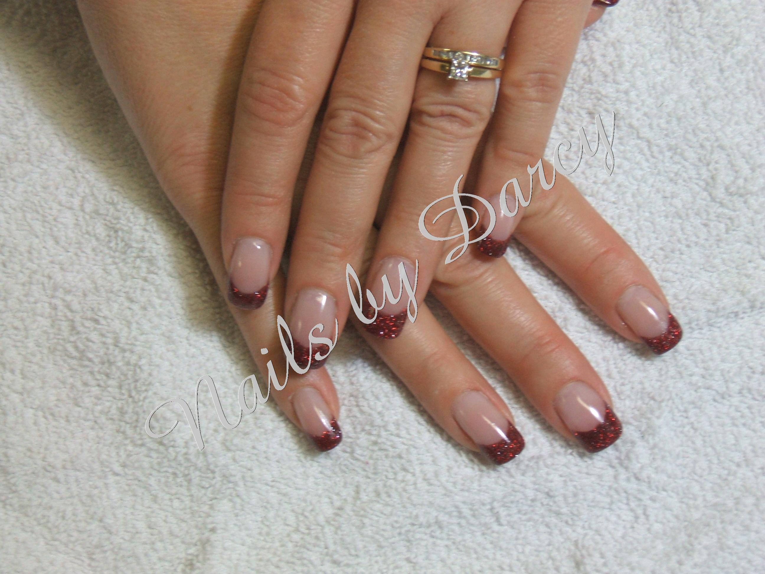 Fine Red Glitter Tips Nails Motif - Nail Art Ideas - morihati.com